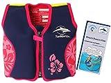 Lampiphant Konfidence Kinder-Schwimmweste aus Neopren, Edition mit Plitsch-Platsch-Fibel, 1,5-3 Jahre, Rosa Blumen